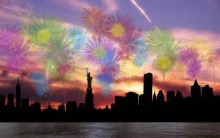 Fireworks Above Statue Of Liberty Picture for Android, iPhone and iPad