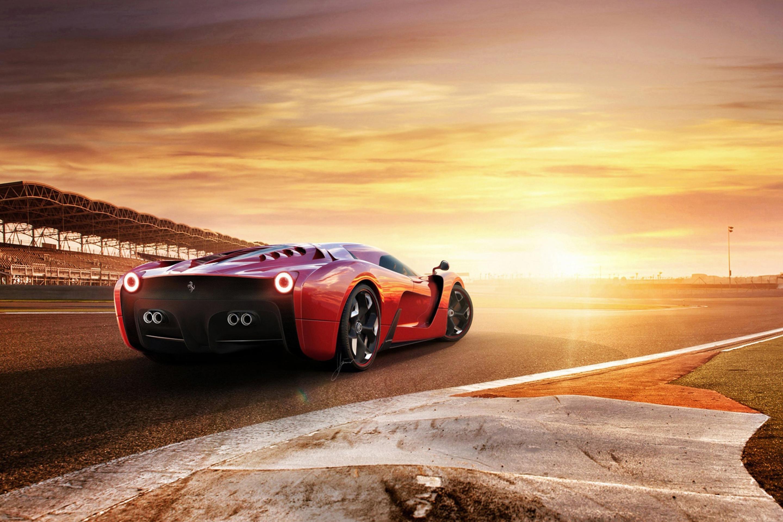 Ferrari 330 ретро дорога закат загрузить