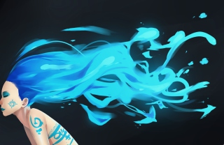 Girl With Blue Hair Art - Obrázkek zdarma