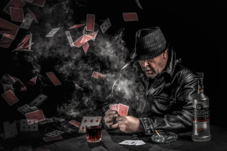 Gambler with vodka wallpaper