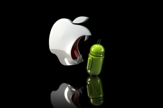 Apple Against Android Background for 480x320