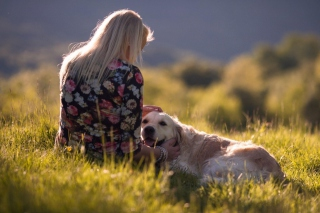 Girl with Retriever Dog Background for Android, iPhone and iPad