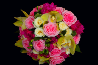 Bouquet of roses and yellow orchid, floristry sfondi gratuiti per cellulari Android, iPhone, iPad e desktop