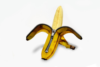 Funny banana as zipper Background for Android, iPhone and iPad