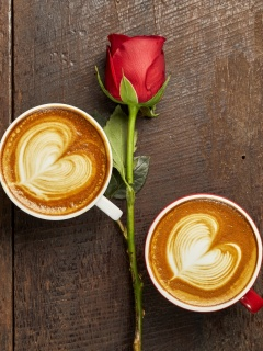 Romantic Coffee and Rose wallpaper 240x320