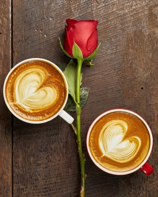 Free Romantic Coffee and Rose Picture for iPhone 5S