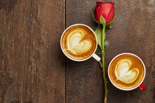Romantic Coffee and Rose Wallpaper for 1280x960