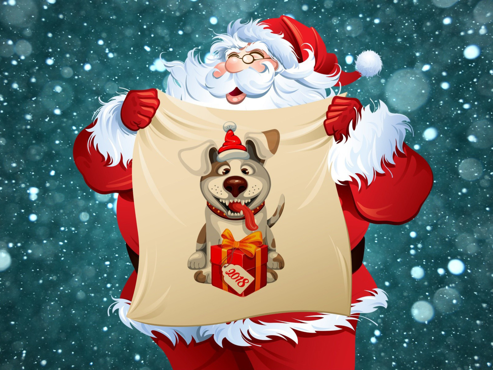 Happy New Year 2018 with Dog and Santa screenshot #1 1600x1200