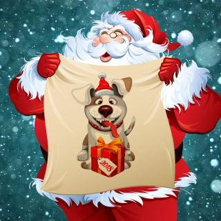 Happy New Year 2018 with Dog and Santa - Obrázkek zdarma pro iPad Air