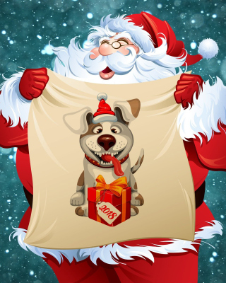 Happy New Year 2018 with Dog and Santa - Obrázkek zdarma pro iPhone 4S