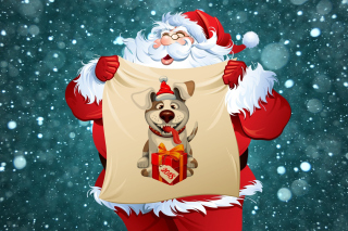 Kostenloses Happy New Year 2018 with Dog and Santa Wallpaper für Desktop Netbook 1024x600