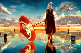 Vocaloid with Umbrella Background for Android, iPhone and iPad