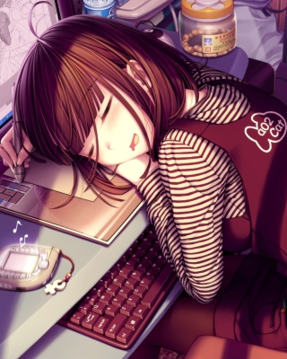 Girl Fallen Asleep During Digital Drawing Background for Nokia C1-01