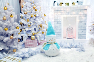 Christmas Tree and Snowman Background for Android, iPhone and iPad