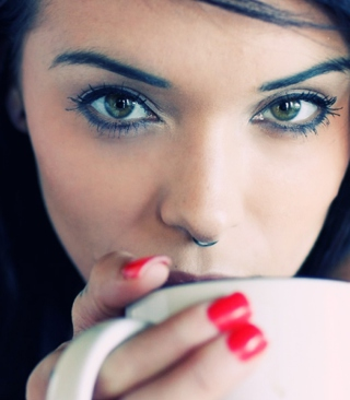 Girl Drinking Coffee Background for iPhone 6 Plus