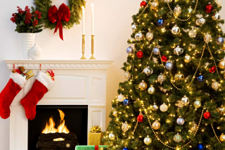Holiday Fireplace Background for Android, iPhone and iPad