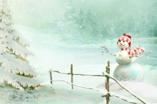 Happy Snowman Wallpaper for Android, iPhone and iPad