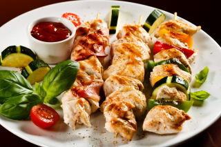 Chicken Skewers as Kebab with Sauce Picture for Android, iPhone and iPad