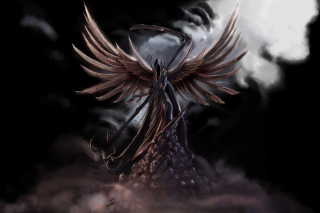 Grim Black Angel Background for Android, iPhone and iPad