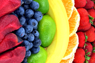 Strawberry, orange, bananas Background for Android, iPhone and iPad