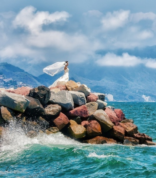 Bride On Sea Coast Background for iPhone 6 Plus
