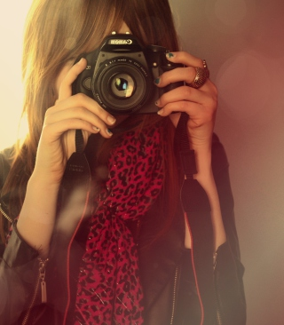 Girl With Canon Camera Wallpaper for 240x320