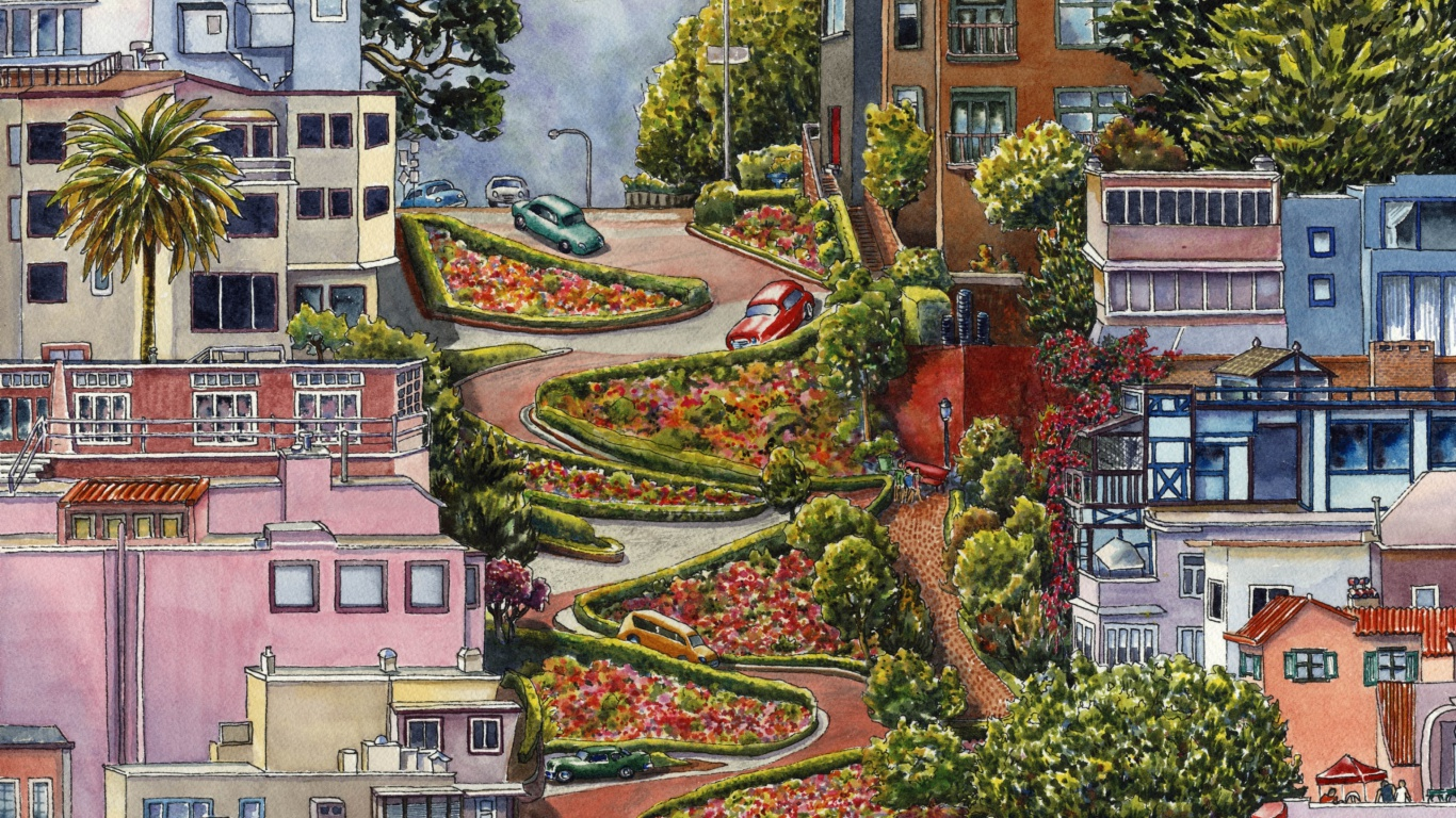 Screenshot №1 pro téma Lombard Street in San Francisco 1366x768