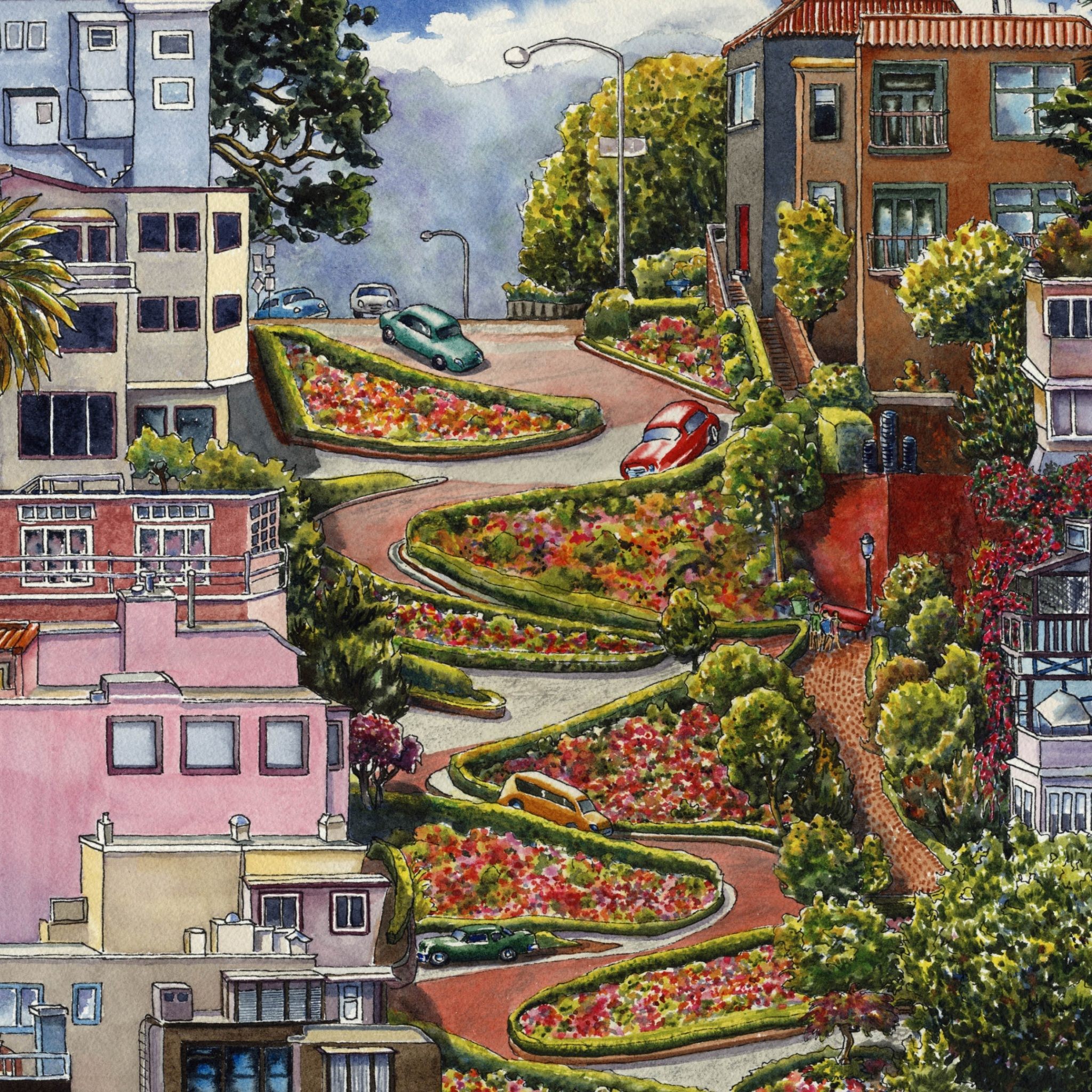 Das Lombard Street in San Francisco Wallpaper 2048x2048
