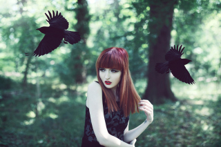Girl And Ravens sfondi gratuiti per cellulari Android, iPhone, iPad e desktop