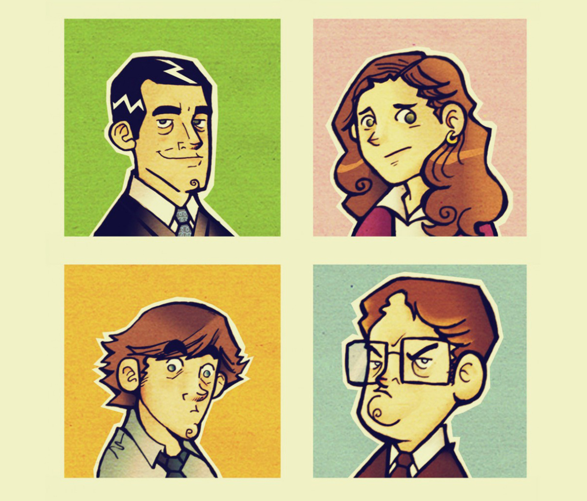 Das Office People Illustration Wallpaper 1200x1024