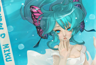Обои Anime Art - Girl With Blue Eyes Underwater для телефона и на рабочий стол