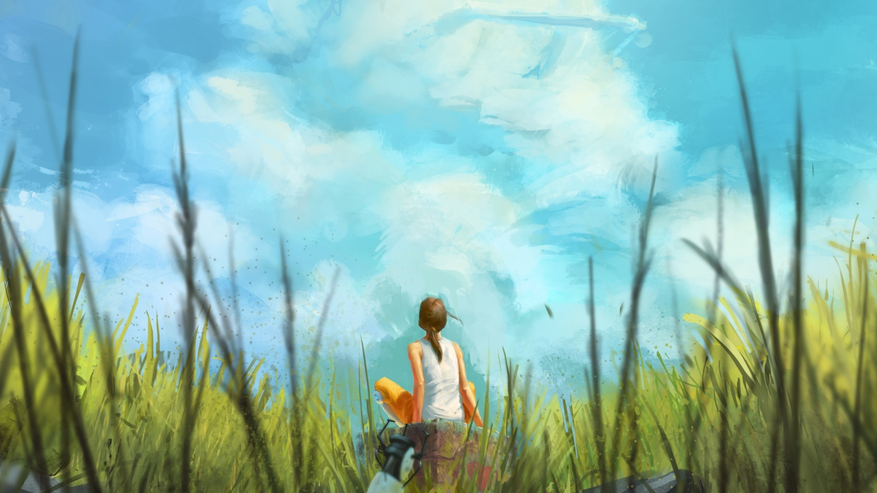 Painting Of Girl, Green Field And Blue Sky