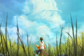Painting Of Girl, Green Field And Blue Sky sfondi gratuiti per Android 720x1280