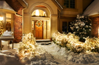 Christmas Outdoor Home Decor Idea Wallpaper for Android, iPhone and iPad