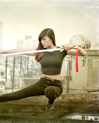 Japanese girl warrior Background for Nokia Asha 306