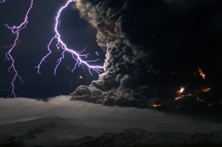 Lightning Behind Dark Clouds Wallpaper for Android, iPhone and iPad