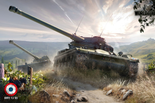 World of Tanks, French tank AMX 13 Background for Android, iPhone and iPad