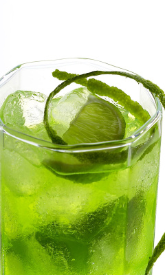 Screenshot №1 pro téma Green Cocktail with Lime 240x400