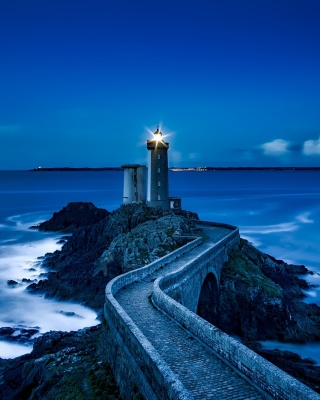 France Lighthouse in Ocean Background for Nokia Asha 310