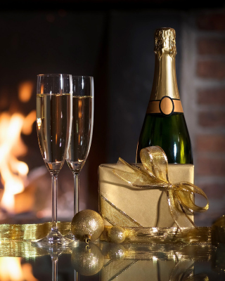 Champagne and Fireplace Wallpaper for Nokia C1-01