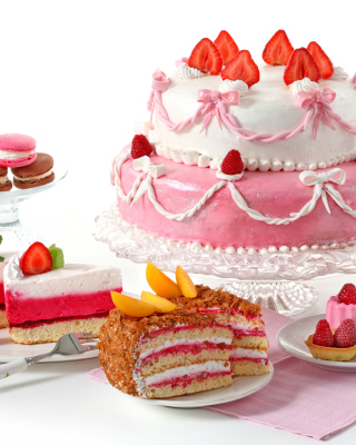 Strawberry biscuit cake Background for Nokia Asha 306