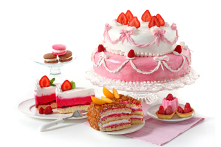 Strawberry biscuit cake Background for 1600x1200