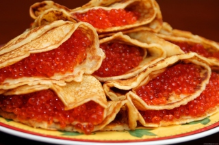 Russian Pancakes With Caviar Background for Android, iPhone and iPad
