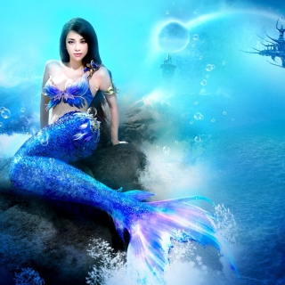 Картинка Misterious Blue Mermaid для телефона и на рабочий стол 2048x2048