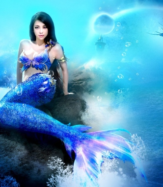 Картинка Misterious Blue Mermaid на телефон Nokia Asha 306