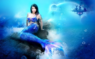 Misterious Blue Mermaid Wallpaper for Android, iPhone and iPad