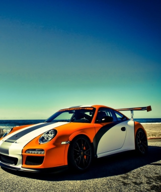 Orange Porsche 997 Wallpaper for Nokia Asha 305