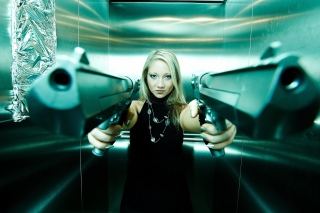 Girl with guns as gangster Wallpaper for Android, iPhone and iPad