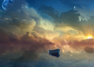 Free Boat In Sky Ocean Painting Picture for Android, iPhone and iPad