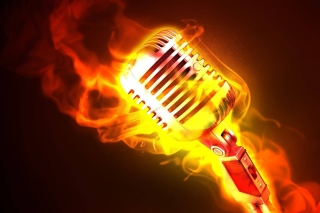 Microphone in Fire Background for Android, iPhone and iPad